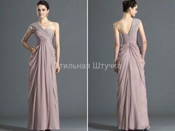 542b3065a41 Эксклюзивное вечернее платье в греческом стиле цвета  quot пудра quot
