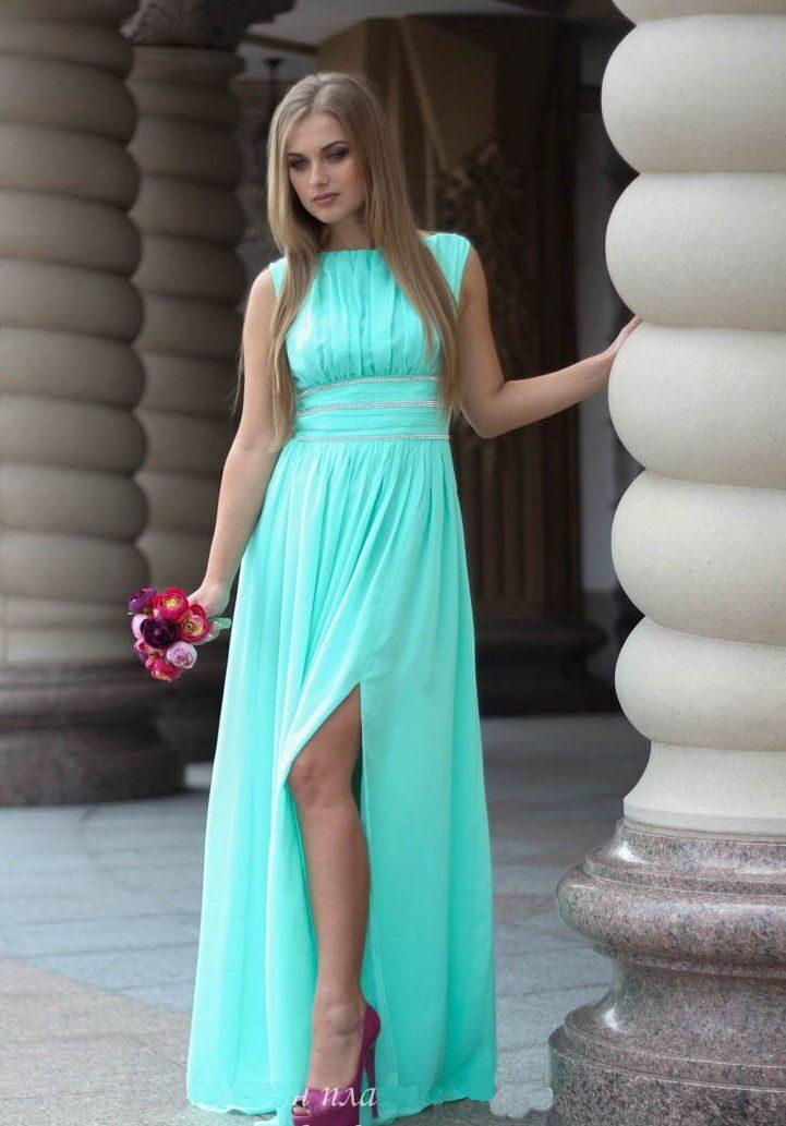 вечерние бирюзовые платья в пол фото